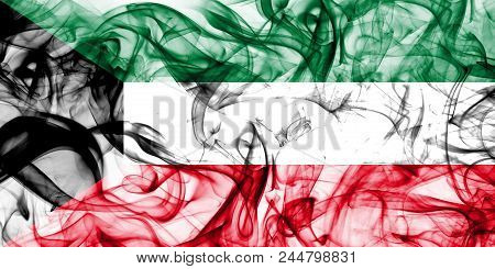 Kuwait Smoke Flag On A White Background