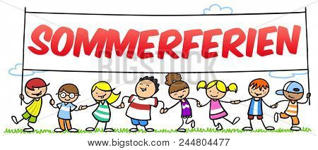 Happy group of schoolchildren is holding a summer holidays signboard in hands with the German word