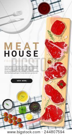 Raw Beef Steaks, Tenderloin, Strip Loin, Rib Eye, T-bone And Tomahawk With Seasoning On Wooden Cutti