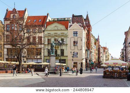 Torun, Poland- 05 April, 2014: Nicolaus Copernicus Monument In The Home Town Of Astronomer Nicolaus