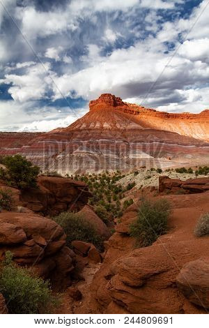 Spectacular Vertical Shot Of The Amazing Different Colored Mountain Formations Of Grand Staircase-es