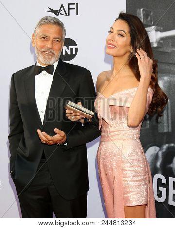 LOS ANGELES - JUN 7:  George Clooney, Amal Clooney at the American Film Institute Lifetime Achievement Award to George Clooney at the Dolby Theater on June 7, 2018 in Los Angeles, CA