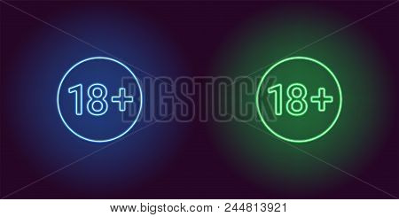 Neon Icon Of Age Limit For Under 18. Blue And Green Vector Sign Of Restriction For Persons Under 18