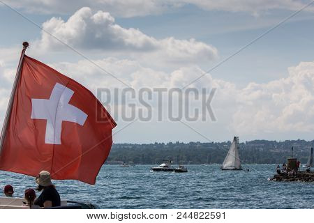 Geneva, Switzerland - June 09, 2018 : 80th anniversary of Bol d'Or Mirabaud 2018 sailing boat race on Lake Geneva (from Geneva to Le Bouveret), the most important inland lake regatta in the world