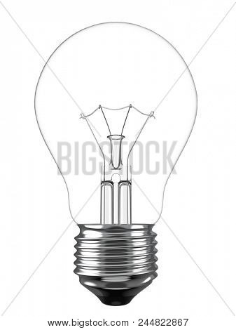 Electric Light Bulb Isolated on White Background. Solution, Ides Symbol. 3D Illustration.