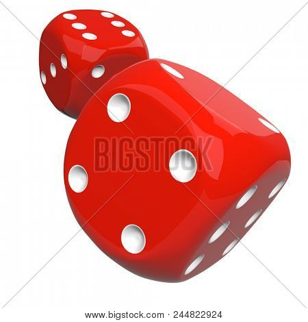 Red Casino Dice Thrown to the Camera Isolated on White Background. Gambling Design Element. 3D Illustration.