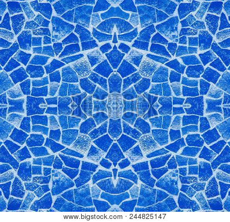 seamless background of blue mosaic tiles