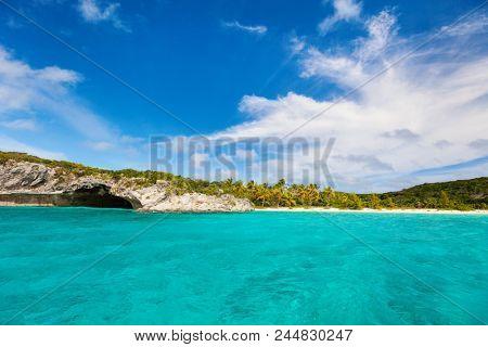 Beautiful tropical coast at Exuma Bahamas