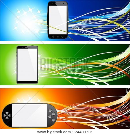 Vector illustration of banners with communicator concepts.