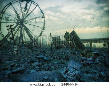 Apocalypse landscape. 3D rendering concept