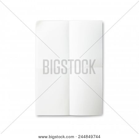 Blank paper with fold mark, isolated on white. Vertical Four fold paper with shadows. Excellent for overlaying project drawings and plans