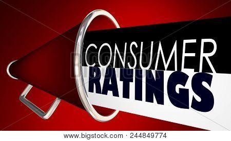 Consumer Ratings Customer Reviews Bullhorn Megaphone 3d Render Illustration
