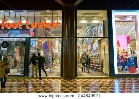 MILAN, ITALY - CIRCA NOVEMBER, 2017: entrance at Foot Locker store in Milan. Foot Locker Retail, Inc. is an American sportswear and footwear retailer