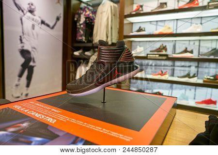 MILAN, ITALY - CIRCA NOVEMBER, 2017: inside Foot Locker store in Milan. Foot Locker Retail, Inc. is an American sportswear and footwear retailer