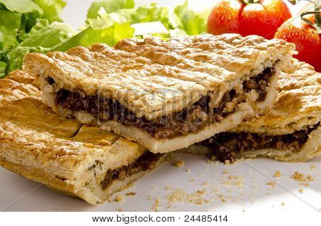 Puff Pastry Pie With Minced Steak And Tomato