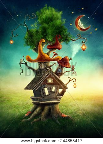 Magic tree house in the meadow