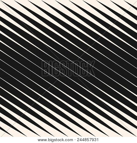 Diagonal Halftone Stripes Seamless Pattern, Slanted Parallel Lines. Vector Geometric Monochrome Text