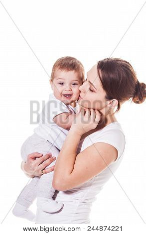 Mother And Baby Hugging Isolated On White