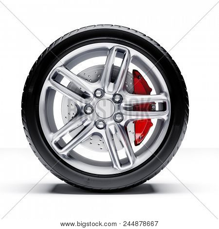 3d car tires and alloy wheel on white background