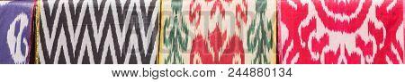 Traditional Uzbek Asian Silk. Colorful Traditional Uzbek Xonatlas Hon Atlas Textile Fabric Backgroun