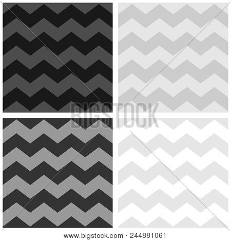 Tile Vector Pattern Set With White, Grey And Black Zig Zag Background
