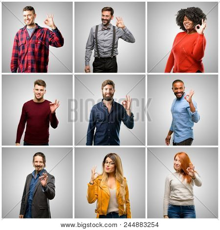 Group of mixed people, women and men doing ok sign with hand, approve gesture