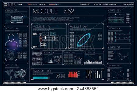 Future Technology Display Design. Futuristic Interface Element. Futuristic Screen Hud Concept. Hud F