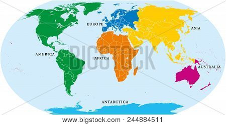 Six Continents World, Political Map. America, Africa, Antarctica, Asia, Australia And Europe, With S