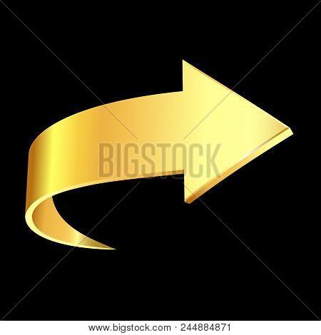 Gold Arrow Sign And Black Background. Business Concept