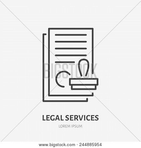 Agreement Flat Line Icon. Paper Documents With Stamp Sign. Thin Linear Logo For Legal Financial Serv