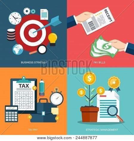 Icon Set For Business Strategy, Pay Bills, Tax Pay, Strategic Management. Flat Vector Illustration