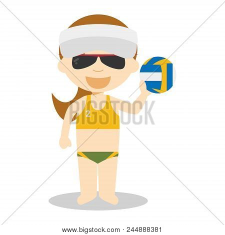 Sports And Competition Cartoon Vector Illustrations: Beach Volley (female)