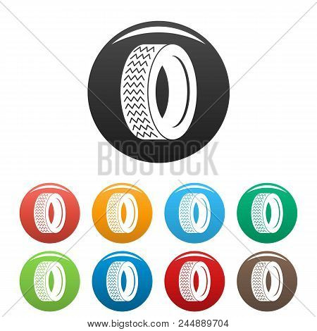 Vehicle Tire Icon. Simple Illustration Of Vehicle Tire Vector Icons Set Color Isolated On White