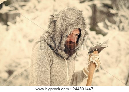 Winter Felling. Camping, Traveling And Winter Rest. Man Lumberjack With Ax. Skincare And Beard Care
