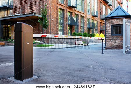 Security System For Building Access - Barrier Gate Stop. Automatic Rising Arm Or Drop Barrier. Intel
