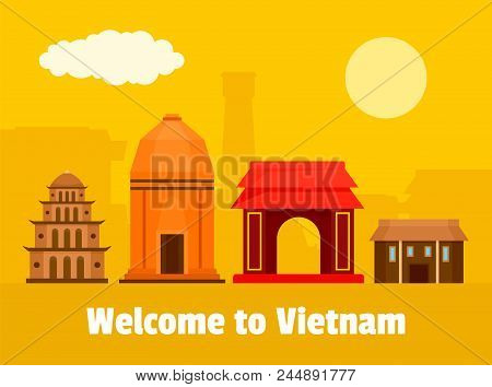 Welcome To Vietnam Background. Flat Illustration Of Welcome To Vietnam Vector Background For Web Des