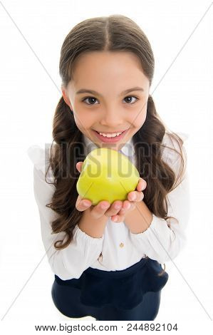 Girl Cute Long Curly Hair Holds Apple Fruit White Background. Child Girl School Uniform Clothes Hold