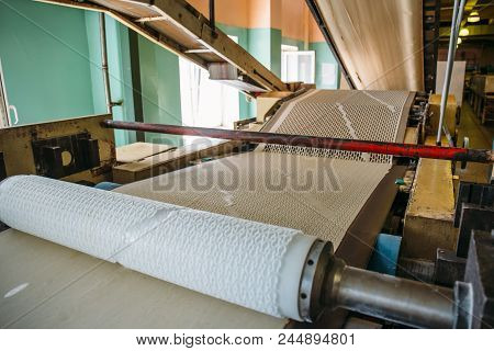 Conveyor Automated Line At The Confectionery Plant, Dough For Making Cookies, Bread Making, Close Up