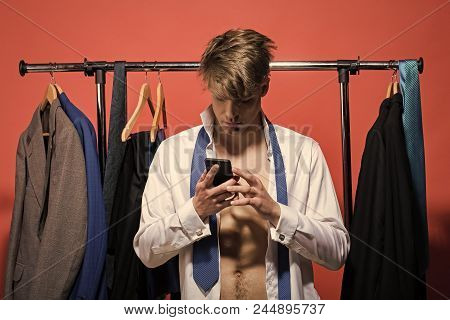 Shopping, Sale, Purchase. Business Communication, New Technology. Businessman Use Mobile Phone In Wa