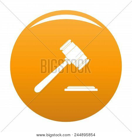 Auction Gavel Icon. Simple Illustration Of Auction Gavel Vector Icon For Any Design Orange