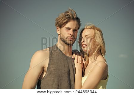 Rural Romance. Love And Romance. Relations Of Happy Family, Future. Muscular Man And Woman With Long