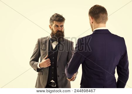Business Transactions. Men In Classic Suits, Businessmen, Business Partners Meeting, White Backgroun