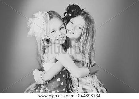 Girls Are Little Sisters. Family Fashion Model Sisters, Beauty. Children Girls In Dress, Family And