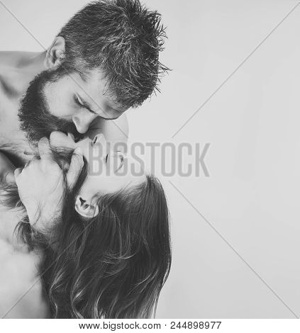 Relations Of Couple. Boyfriend And Girlfriend, Massage And Relax. Man And Girl With Naked Body. Coup