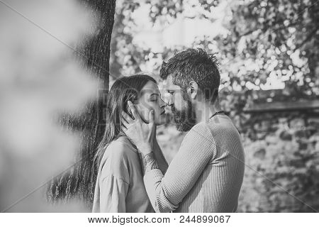 Love Relationship. Autumn Couple In Love Of Happy Man Wnd Woman Kiss With Yellow Tree Leaves In Park
