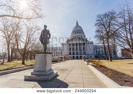 Statue Of Hans Christian Heg In Front Of Wisconsin State Capitol Building In Madison Wisconsin On A