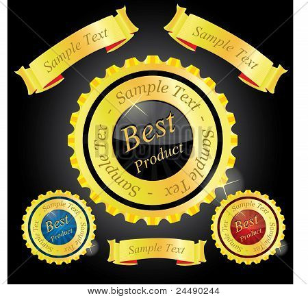 Golden labels and ribbons - vector