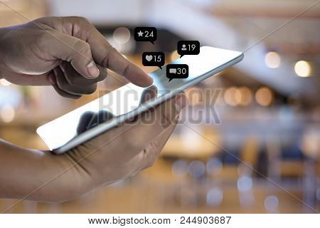 Contact Us  Sms Media Man Use  Smart Phone Social Media Network Pop Notification Icons