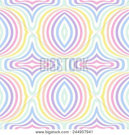Geometric Striped Seamless Background, Pastel Rainbow Spectrum Colors