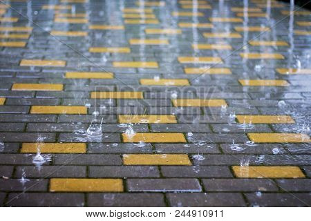 Rain In  City. Wet Paving Tiles In Rainy Weather. Splashes Of Rain